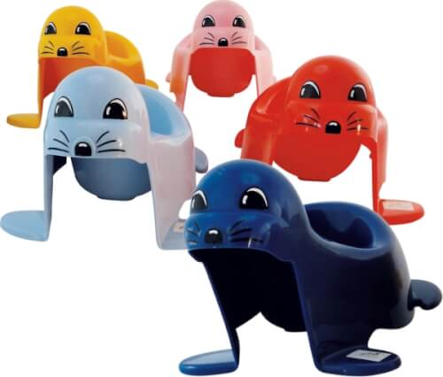Seehundtöpfchen mit Musik, farblich sortiert
