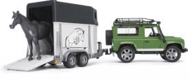 Bruder 02592 Land Rover Defender plus Anhänger plus Pferd