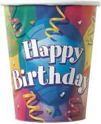 Happy Birthday Brilliant Pappbecher 266ml 8 Stück